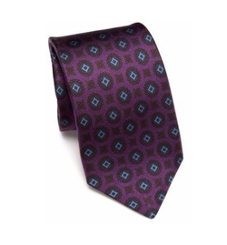 Kiton - Medallion Printed Silk Tie