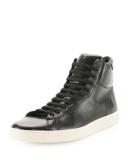 Tom Ford	  - Russel Leather High-Top Sneaker