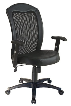 Modern Office - Screen Back w/ Vinyl Trim & Leather Seat Chair