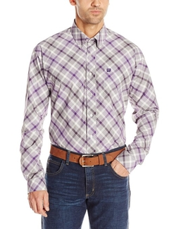 Cinch - Button Down Bias Plaid Shirt