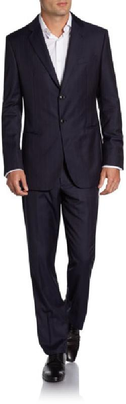 Giorgio Armani - Virgin Wool Striped Two-Button Suit