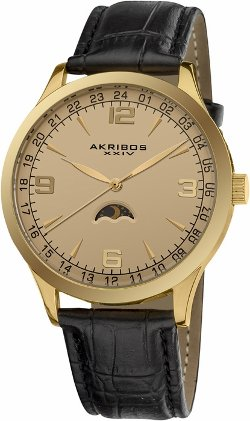 Akribos  - Champagne Dial Black Leather Mens Watch