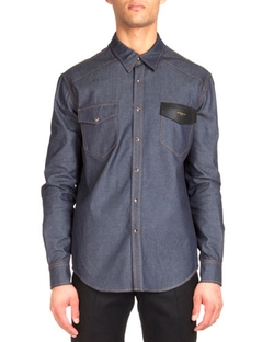 Givenchy - Contrast Stitching Denim Shirt With Leather Detail