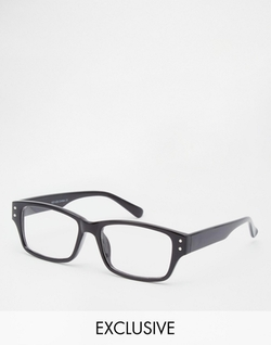 Reclaimed Vintage - Magellan Square Clear Lens Glasses