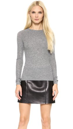 T by Alexander Wang  - Ribbed Long Sleeve Fitted Pullover