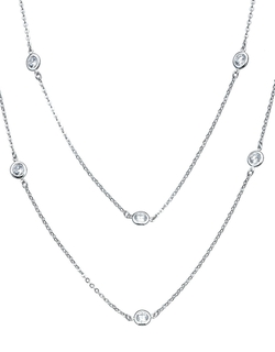 Crislu - Cubic Zirconia Double Strand Station Necklace