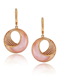 Frederic Sage - Small Pink Mother-Of-Pearl & Diamond Venus Twist Earrings