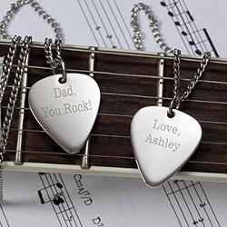 Personalizationmall - Personalized Silver Guitar Pick Pendant With Chain