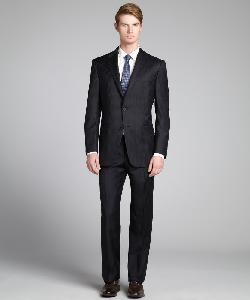 HICKEY FREEMAN - Black Banker Stripe Worsted Wool Two-Button Suit With Flat Front Pants
