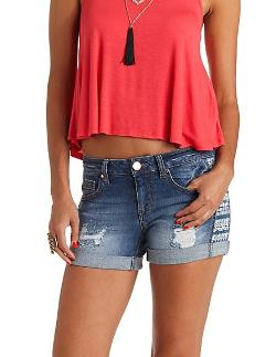 Charlotte Russe - Tribal Print Cuffed Denim Shorts