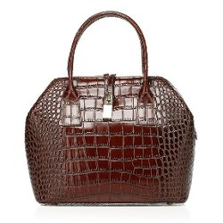 Vicenzo Leather Bag Co.  - Kathy Crocodile Embossed Leather Tote Handbag
