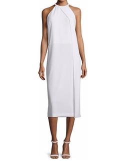 DKNY - Sleeveless Draped Crepe Midi Dress