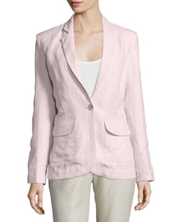 Neiman Marcus -  One-Button Fitted Linen Blazer