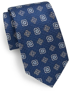 Saks Fifth Avenue  - Neat Floral Medallion Silk Tie