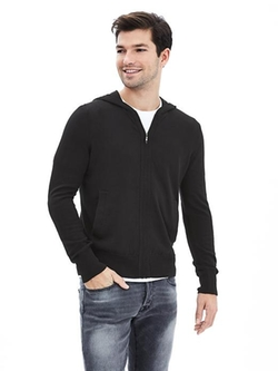 Banana-Republic - Silk Cotton Cashmere Sweater Hoodie