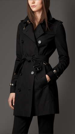Burberry - Leather Detail Cotton Gabardine Trench Coat