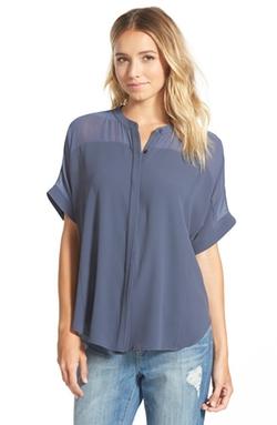 Lush - Band Collar Woven Shirt