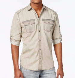 INC International Concepts - Glidder Overdye Long-Sleeve Shirt