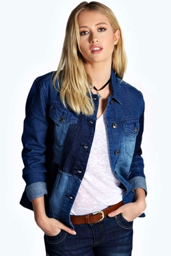Boohoo Blue  - Alex Patch Work Denim Jacket