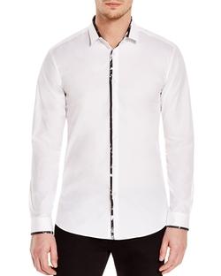 Hugo  - Contrast Trim Slim Fit Button Down Shirt
