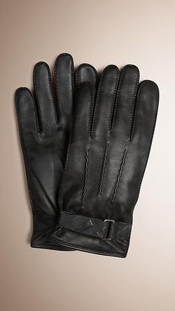 Burberry - Embossed Check Detail Leather Gloves