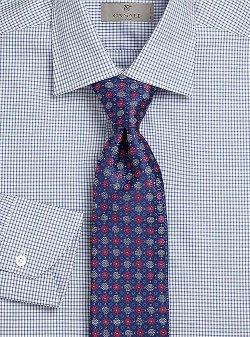 Canali  - Floral & Diamond Print Silk Tie