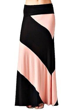 NioBe  - Panel Print Colorblock Knit Chevron Striped Maxi Skirt