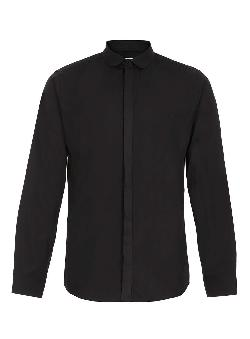 Topman - BLACK TEXTURED CURVE COLLAR LONG SLEEVE SMART SHIRT