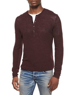 Rag & Bone  - Garrett Long-Sleeve Thermal Henley Shirt