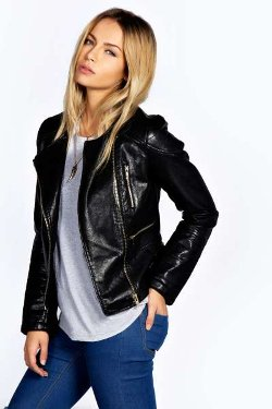 Boohoo - Katy Zip Shoulder Faux Leather Biker