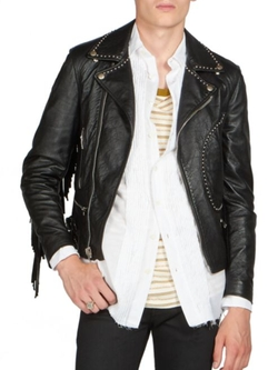 Saint Laurent  - Fringe Leather Moto Jacket