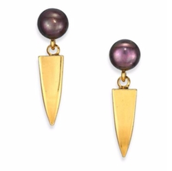 Lizzie Fortunato - Dagger Peacock Round Pearl Drop Earrings