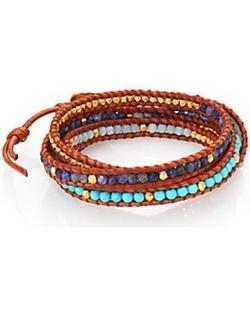 Chan Luu - Turquoise, Sodalite, Amazonite & Leather Multi-Row Beaded Wrap Bracelet