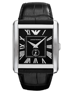 Emporio Armani  - Stainless Steel And Leather Square Watch
