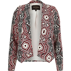 River Island - Red Printed Draped Blazer