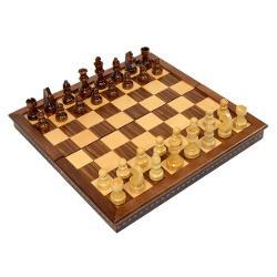 "Wholesale Chess - 15"" Folding Magnetic Wood Chess Set"