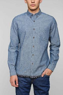 Urban Outfitters - Vanishing Elephant Jacquard Hem Chambray Button-Down Shirt