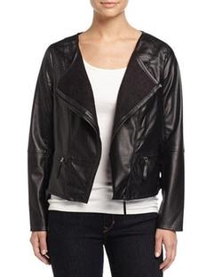 Max Studio - Asymmetric-Zip Faux-Leather Jacket