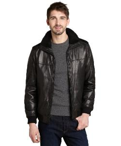 Elie Tahari  - Black Leather Shearling Collar Bomber Jacket