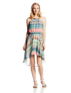As U Wish  - Juniors Printed High/Low Halter Necklace Dress