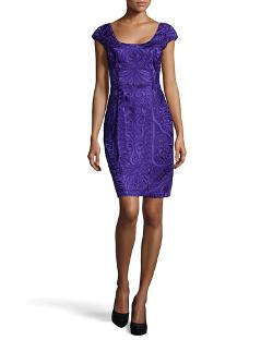 Sue Wong - Fitted Embroidered Cap-Sleeve Dress, Purple