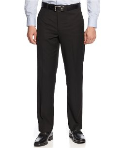 Lauren Ralph - Black Solid Flat-Front Dress Pants
