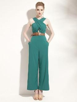 CHOiES - Cross Wrap Front Jumpsuit