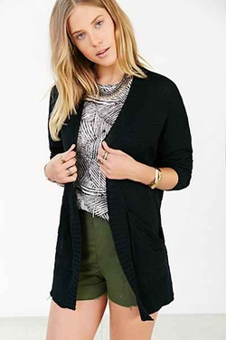 Ecote  - Mixed-Stitch Open-Front Cardigan