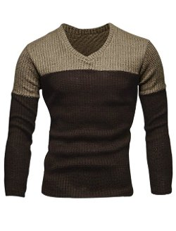 Uxcell  - Contrast Color Slim Casual Sweater