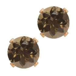 Gem Stone King - Smoky Quartz Rose Stud Earrings