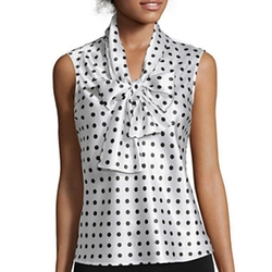 Black Label By Evan-Picone  - Sleeveless Polka Dot Bow Blouse