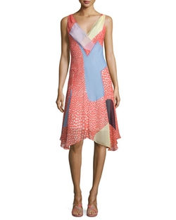 Diane von Furstenberg  - Dita Sleeveless Silk Patchwork Dress
