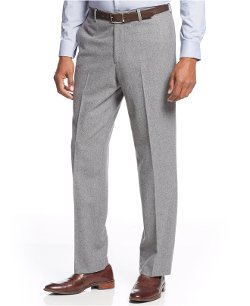 Tasso Elba  - Solid Wool-Blend Flannel Pants
