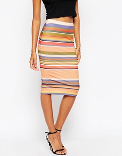 Asos Collection - Multi Stripe Pencil Skirt